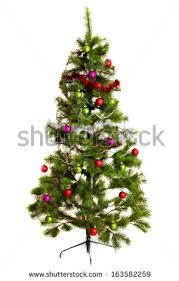 isolated tree decorated ornaments burlap stock photo