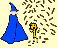 blue wizard makes wet poop fall on yellow man drawing by vikiq1031