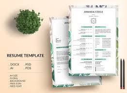 Resume Template Docx Floral Resume Template Cv Template Letterhead By