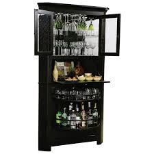 Glass Bar Cabinet Designs Simple High Gloss Finishing Black Wooden With Shelves Of Modern
