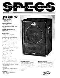 peavey speaker 118 sub hc user guide manualsonline com
