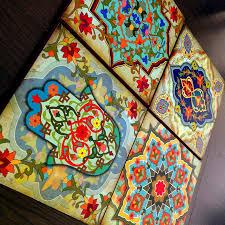 moroccan wall art set blocks 8x8 set of 4 hamsa art set old world
