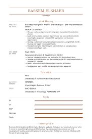 Sample Resume Of Business Analyst by Business Intelligence Analyst Resume Samples Visualcv Resume