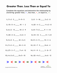 greater than less than equations worksheet education com