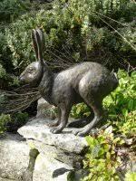 bronze hare sculpture callisto by wildlife artist