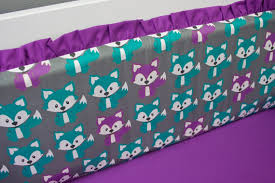Purple And Teal Crib Bedding Baby Fox Crib Bedding Purple And Turquoise Bumperless