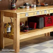 Plans For A Wooden Bench With Storage by Workbench Plans Workbenches The Family Handyman