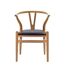 mid century modern natural wishbone chair black cushion