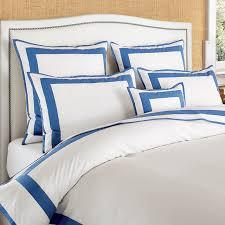 Blue And White Comforter Percale Border Bedding Williams Sonoma