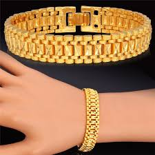 gold link bracelet mens images 2018 18k gold bracelet men jewelry rock style platinum plated 19 jpg