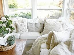 Country Slipcovers For Sofas Farmhouse Pillows Cottage Style Sunroom And Cozy