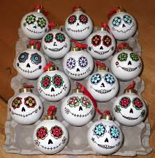 day of the dead style glass ornaments feliz navidad