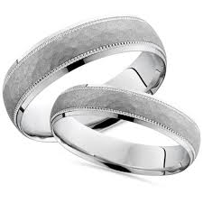palladium wedding band matching his hers palladium hammered wedding band set
