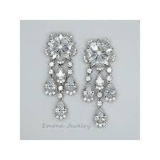 White Chandelier Earrings Flower Studs Cubic Zirconia Wedding Chandelier Earrings Emona