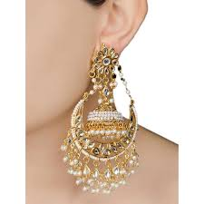 jhumka earrings ivory half moon jadau golden jhumka earrings bvn113