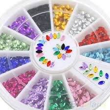 24 packs multicolor oval 3d glitters studs diy decoration nail