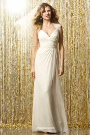 ruched a line chiffon elegant bridal gown with keyhole back