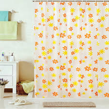 Blue And Yellow Curtains Prints Kids Shower Curtain Of Flower Patterns In Orange And Yellow