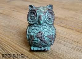 Aqua Blue Pewter Owl Distressed Turquoise Owl Knob