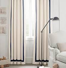 White Curtains With Blue Trim Pair Two 50w Panels Grosgrain Ribbon Trim Linen Curtains Rod