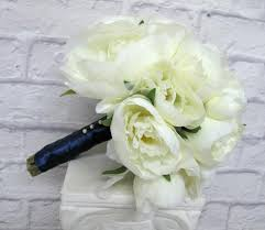silk wedding flowers peony wedding bouquet navy bridal bouquet silk