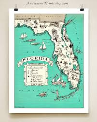 Lakewood Ranch Florida Map by Florida Map Print Shown In Sea Blue Personalize It Vintage