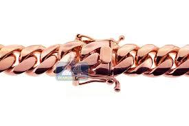 rose gold rope chain bracelet images Mens miami cuban link chain handmade solid 18k rose gold 16mm jpg