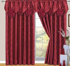 Burgundy Curtains With Valance Jacquard Rod Pocket Panel With Attached Valance And Backing
