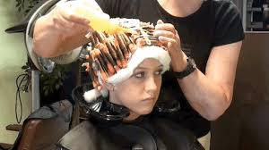 sissy boys hair dryers applying solution hair rollers pinterest perms perm and salons