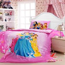 snow white characters on bed linen print of patterns with pink
