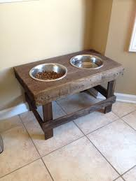 Wall Mount Pet Feeder Diy Raised Dog Bowls Pet Feeder Pallet Project Made Entirely