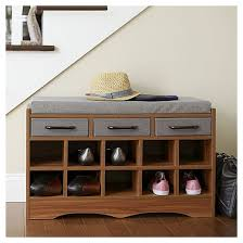 household essentials entryway shoe storage bench honey maple
