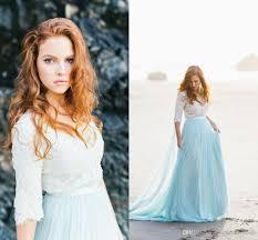 discount 2017 bohemian beach wedding dresses half long sleeve