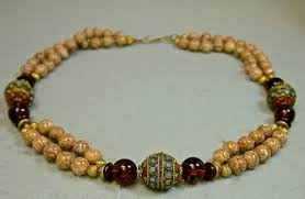 necklace stone bead images Vintage amber fossil stone bead necklace pakistan inlaid brass jpg