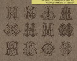 vintage monogram letters p j monogram typography type