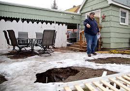 Sinkhole In Backyard Sinkhole Hits Back Yard In Klamath Falls News Heraldandnews Com