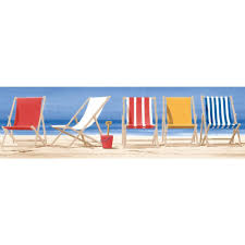 Beach Color by York Wallcoverings Inspired By Color Beach Chairs Wallpaper Border