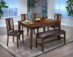 new classic latitudes 6 piece cut corner dining set in chestnut by