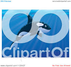 clipart cute beluga whale waving and smiling over a blue circle