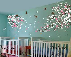 Cherry Blossom Tree Wall Decal For Nursery Cherry Blossom Wall Decals Birds Vinyl Wall Decals Nursery