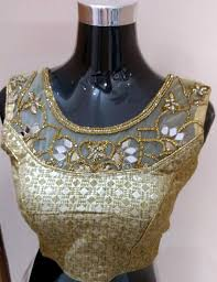 golden blouse stylish and golden design readymade sleeveless blouse