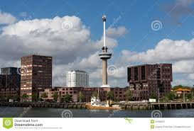 observation tower euromast in rotterdam royalty free stock