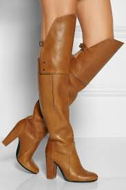 womens boots knee high leather vintage camel designer chunky heel thigh high boots