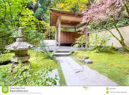 japanese garden tea house with stone lantern stock images image