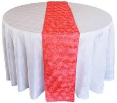 pink rosette table runner coral satin rosette wedding table runners sale