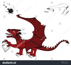 medieval dragon tattoo set vector format stock vector 321632711