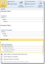 create table of contents in word creating a manual toc