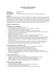 Cook Job Description For Resume by Restaurant Resumes Professional Retail And Restaurant Associate