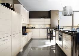 Kitchen With Grey Floor by Kitchen Yellow Cabinet White Countertop Wooden Dining Table