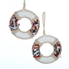 pack of 12 nautical wooden life preserver with anchor christmas